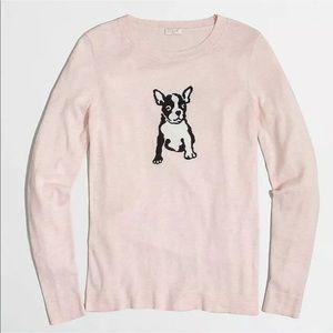 J crew Sweater Intarsia Dog  Boston Terrier Pink